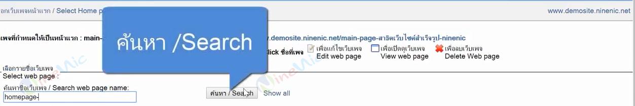 คู่มือเว็บไซต์สำเร็จรูป ninenic - กำหนดเพจหน้าแรก