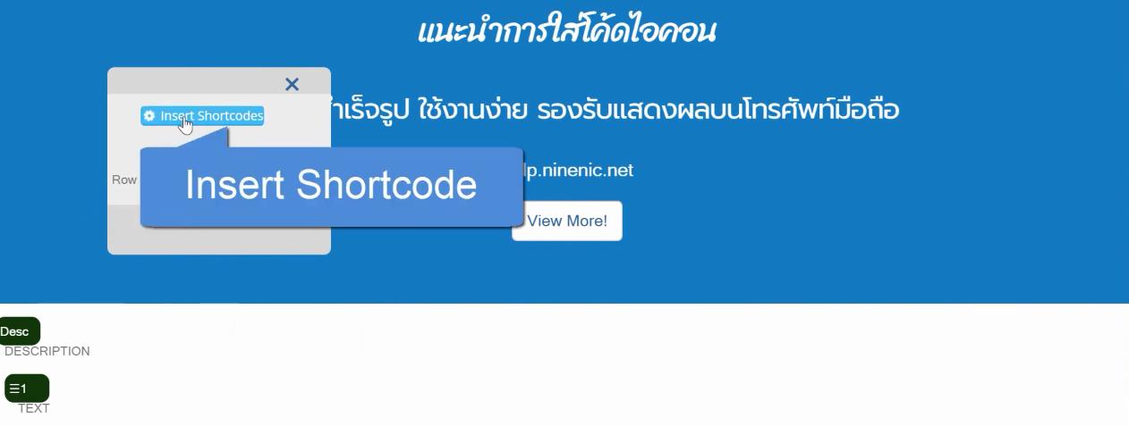 คู่มือเว็บไซต์สำเร็จรูป ninenic - webeditor  แนะนำการใส่ไอคอนในเว็บเพจ (Insert icons)