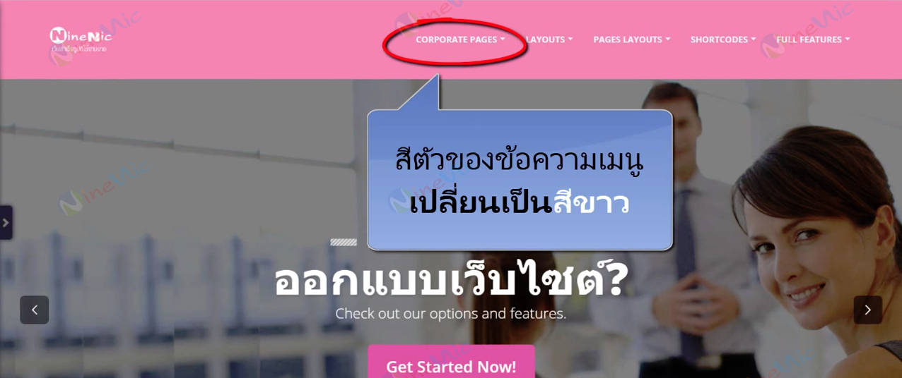 คู่มือเว็บไซต์สำเร็จรูป ninenic - เปลี่ยนสีอักษรเมนูบน Top menu font color