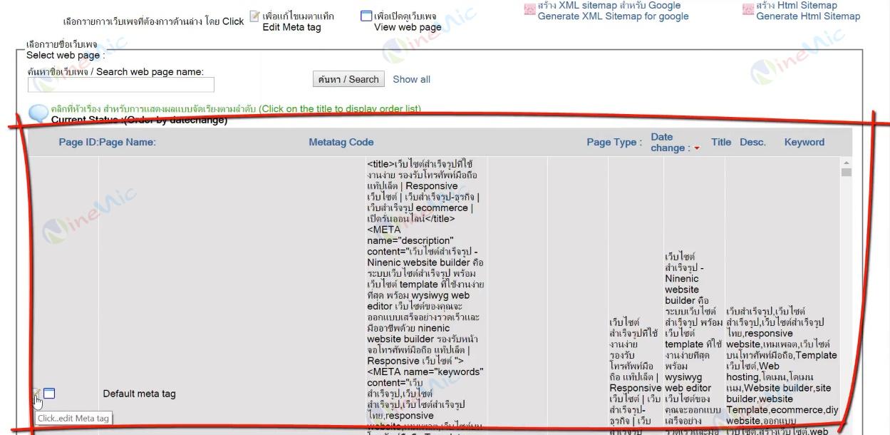 คู่มือเว็บไซต์สำเร็จรูป ninenic - meta tag
